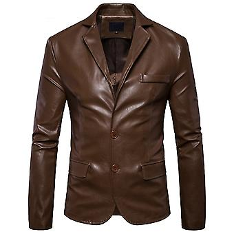 Allthemen الرجال & apos;s سترة جلدية سليم صالح Lapel أزياء معطف جلدي