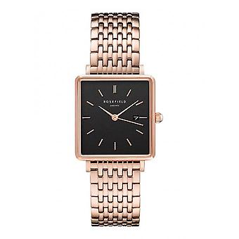 Rosefield QBSR-Q19 Watch - Bo tier m tal gold rose shiny black dial with dateur gold gold bracelet pink Women