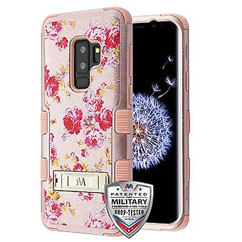 MYBAT Vintage Rose Bush Textured Rose Gold/Rose Gold TUFF Hybrid Case(w/ Stand) for Galaxy S9 Plus