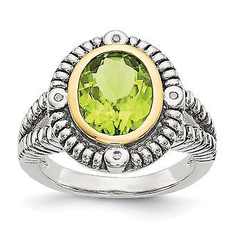 925 Sterling Zilver Met 14k Diamond en Peridot Ring Sieraden Cadeaus voor Dames - Ring Maat: 6 tot 8