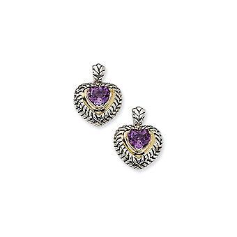 925 Sterling Silver Post Earrings finish With 14k 3.64Amethyst Love Heart Earrings Jewelry Gifts for Women