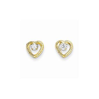 14k Yellow Gold Textured Polished Love Heart With CZ Cubic Zirconia Simulated Diamond Post Earrings Jewelry Gifts for Wo