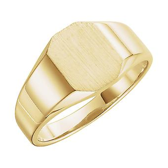 14k Yellow Gold Octagon Signet Ring 9x7mm Size 6 Jewelry Gifts for Women - 3.5 Grams