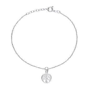 Jewelco Londyn Panie Rhodium Plated Sterling Silver Bead Chain Tree of Life Charm Anklet 9 + 1 cal