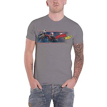 Ant Man and The Wasp T Shirt Movie Banner new Official Marvel Comics Mens Grey