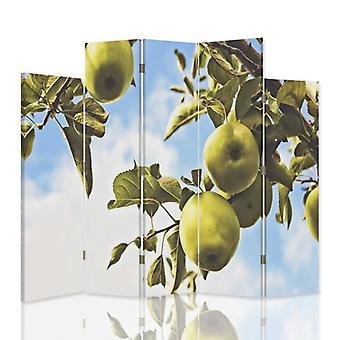 Divisor de quarto decorativo, 5 painéis, dupla face, lona, filial maçãs verdes 2