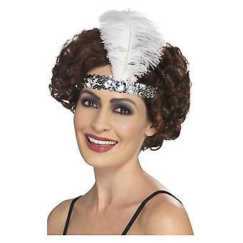 Dame 1920s stopgarn hovedbøjle sølv Fancy kjole tilbehør