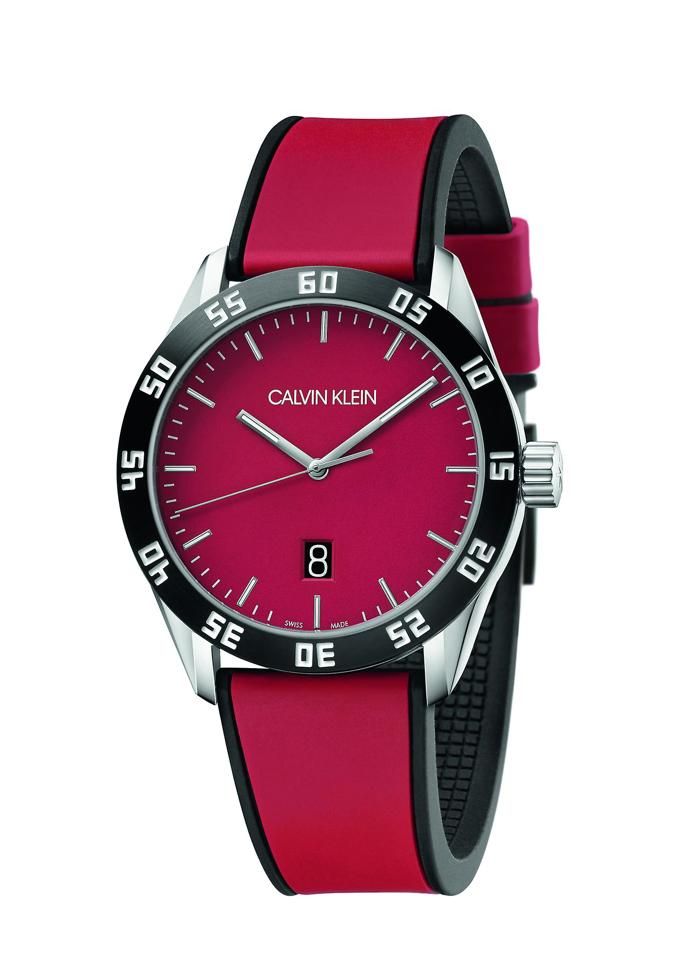 Calvin Klein Compete Red Silicone Quartz Mens Watch K9R31CUP