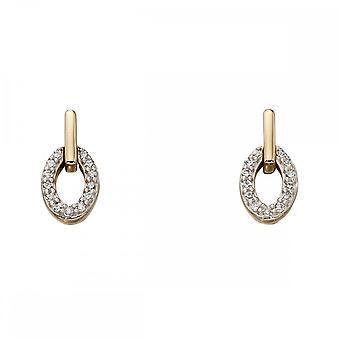 Elements Gold Oval Diamond Earrings GE2199
