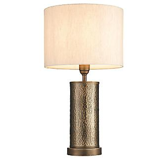 Endon Indara 1 Lampe de table légère Bronze vieilli, Plaque de bronze martelé effilée 71591