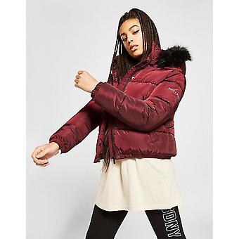New Supply & Demand Women's Logo Fur Hood Puffer Jacket Red