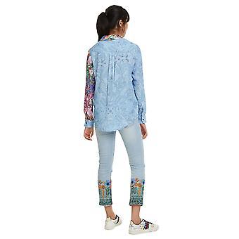 Desigual Frauen's Clarie Kontrast abstrakte Muster Shirt