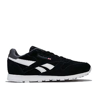 Junior Boys Reebok Classics Leather Trainers In Black- Lave Fastening- Cushioned