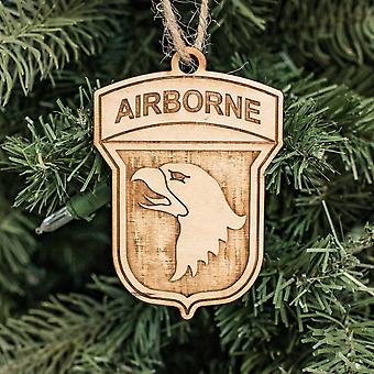 Ornament - 101st airborne - raw wood 4x2in