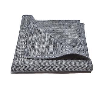 Prata cinza Herringbone lenço de bolso, lenço