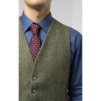 Moon Mens Green/Red Tweed Waistcoat Regular Fit 100% Wool
