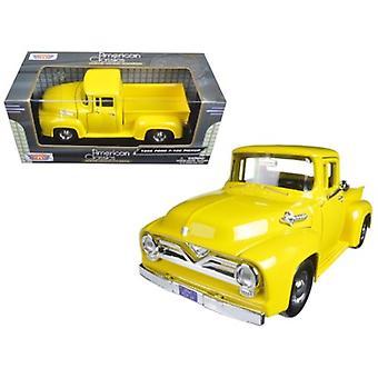 1955 Ford F-100 Pickup Truck Yellow 1/24 Diecast Model Car di Motormax