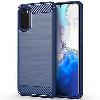 Samsung Galaxy S20 TPU Custodia in fibra di carbonio in fibra ottica spazzolata custodia protettiva blu