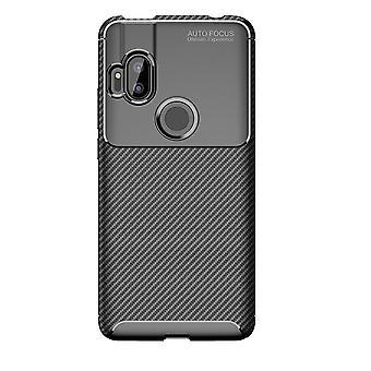 Motorola One Hyper carbon fiber shell-zwart