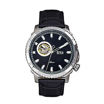 Reign Bauer Automatic Semi-SkeletonLeather-Band Watch - Silver/Black