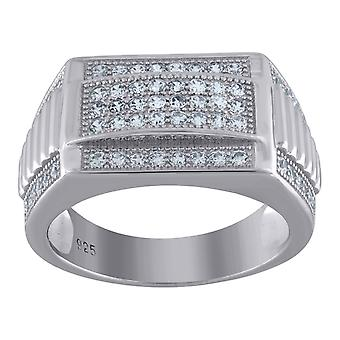 925 Sterling Silver Mens CZ Cubic Zirconia Simulated Diamond Rectangle Head Ribbed Sides 9.5mm Band Ring Jewelry Gifts f