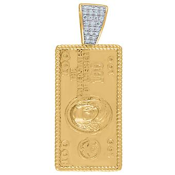 925 Sterling Silver Mens Yellow tone CZ One Hundred Dollar Bill Charm Pendant Necklace Measures 42.3x16.5mm Jewelry Gift