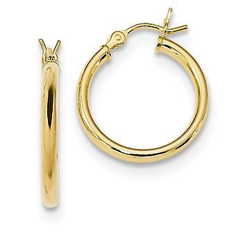 18.12mm 925 Sterling Argent Or ton Polished Hoop Boucles d'oreilles Bijoux Bijoux pour les femmes - 1.6 Grammes