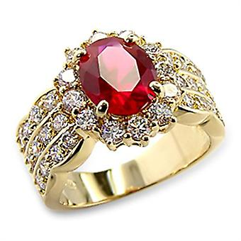Ah! Gioielli 4.60ct LADIES BLOOD RED RUBY (10.8mm) RING. Oro Elettroplaccato
