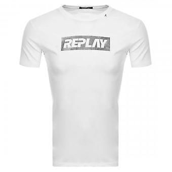 Replay Logo Print T-shirt Wit M3017