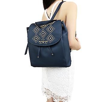 Michael kors riley large leather backpack navy blue gold studded drawstring flap