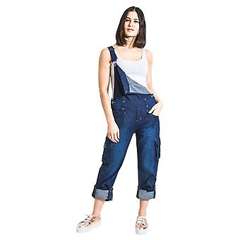 Womens denim dungarees with roll up leg - various colours