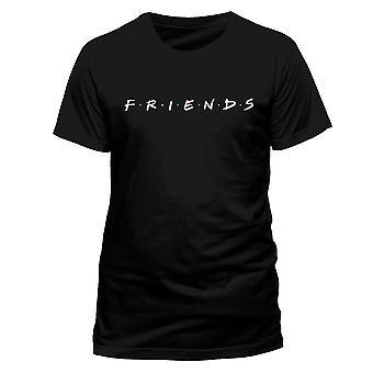 Hombres amigos logotipo negro camiseta cuello redondo