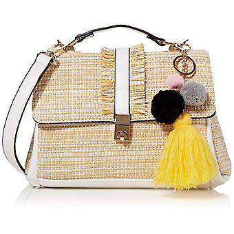 BESSIE LONDONWoven Pattern With Hanging Drop Crossbody Women's Shoulder BagBeige7x18x22 Centimeters (W x H x L)