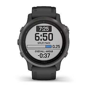 Garmin 010-02159-25 Fenix 6s Smartwatch Titanium Grey en Zwart Siliconen Band
