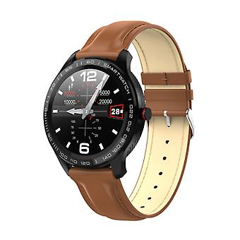 Lokmat Sports Smartwatch Fitness Sport Activity Tracker Smartphone Watch iOS Android IP68 iPhone Samsung Huawei Brown Leather