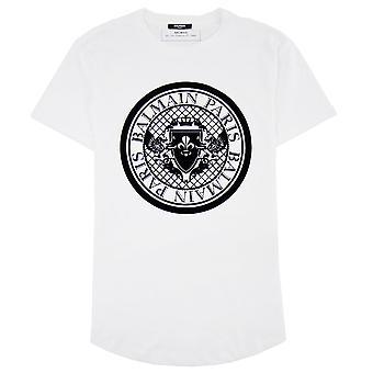 Balmain Bawełniany T-shirt z aksamitnym medalionem białym