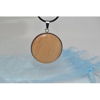 Drevený náhrdelník s karabínou sponou buk 3 cm drevo šperky drevo amulet drevený reťazec drevené šperky ručne vyrábané v Rakúsku darček