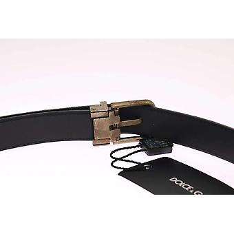 Dolce & Gabbana Blue Leather Gold Brushed Buckle Belt -- BEL1007728