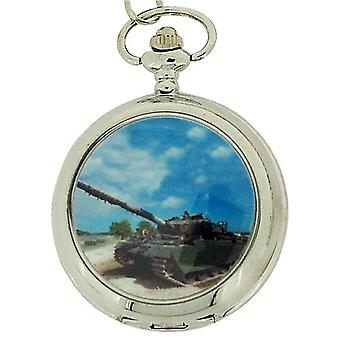 Boxx Gents White Dial Army Tank Pocket Watch op 12 Inch ketting Boxx93
