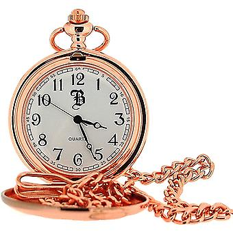 BOXX Rose goldtone miehet analoginen valkoinen Dial Pocket Watch ja Chain BOXX224