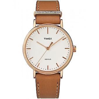 Timex damer se Fairfield krystall 37 mm skinn armbånd TW2R70200