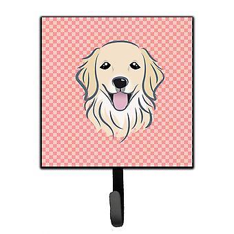 Checkerboard Pink Golden Retriever Leash or Key Holder