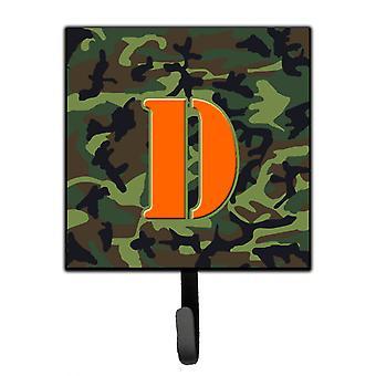 Letter D Initial Monogram - Camo Green Leash Holder or Key Hook