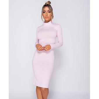 Rib Knit Polo Neck - Midi Dress - Women - Pink