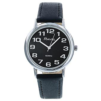 Ravel Classic Analogue Jumbo Black Dial Black PU Strap Gents Dress Watch R0105.07.1A