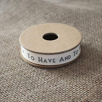 East of India 'To Have And To Hold' Ribbon White and Grey 3m Wedding / Gift Favours