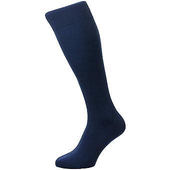 Pantherella Camden Merino Wool Over the Calf Socks - Dark Blue