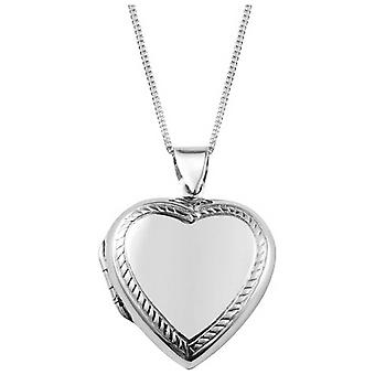 Orton West Engraved Edge Heart Locket - Silver