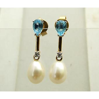 Gold earrings with topaz, diamond and pearl