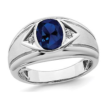 Mens 3.25 Carat (ctw) Lab Created Blue Sapphire Ring in 14K White Gold